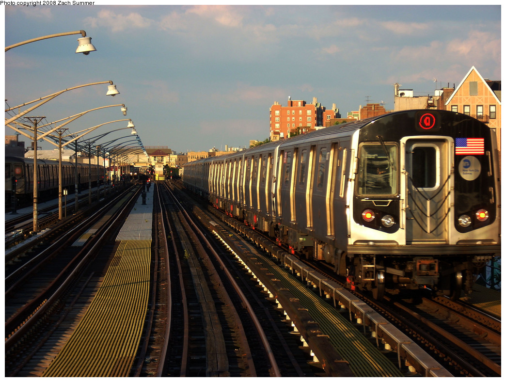 (319k, 1044x788)<br><b>Country:</b> United States<br><b>City:</b> New York<br><b>System:</b> New York City Transit<br><b>Line:</b> BMT Brighton Line<br><b>Location:</b> Ocean Parkway <br><b>Route:</b> Q<br><b>Car:</b> R-160B (Kawasaki, 2005-2008)  8877 <br><b>Photo by:</b> Zach Summer<br><b>Date:</b> 8/1/2008<br><b>Viewed (this week/total):</b> 0 / 1711
