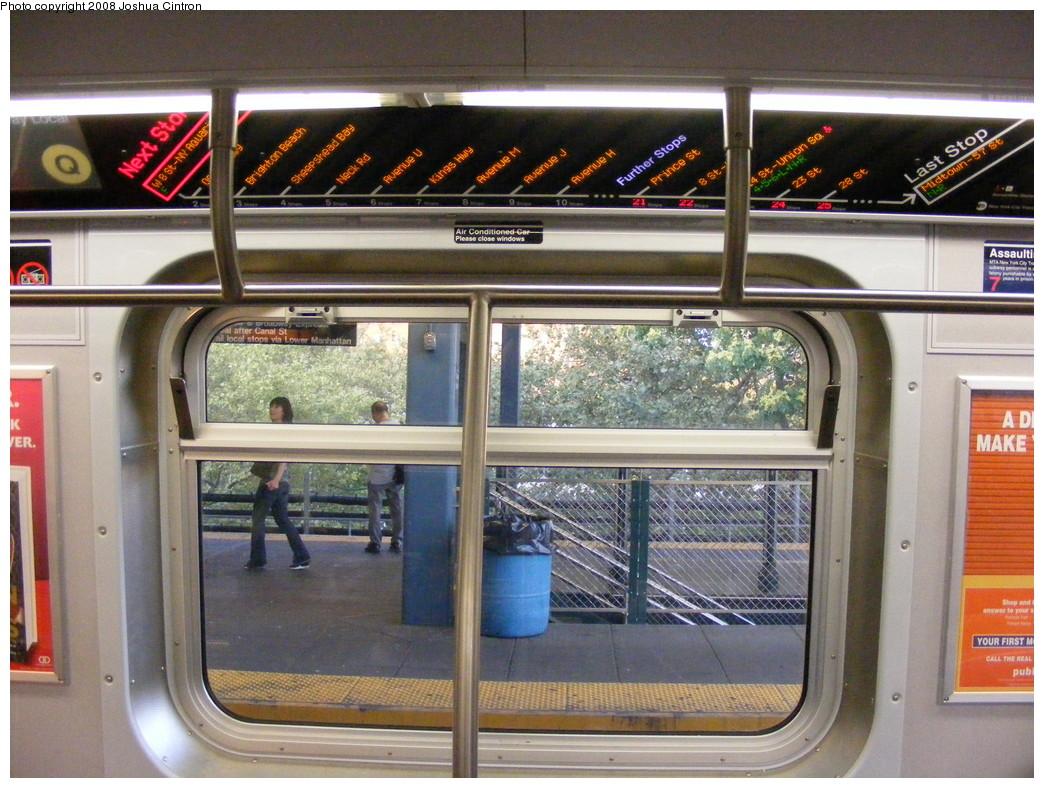 (266k, 1044x788)<br><b>Country:</b> United States<br><b>City:</b> New York<br><b>System:</b> New York City Transit<br><b>Route:</b> Q<br><b>Car:</b> R-160A/R-160B Series (Number Unknown) Interior <br><b>Photo by:</b> Joshua Cintron<br><b>Date:</b> 8/16/2008<br><b>Notes:</b> Q FIND Display.<br><b>Viewed (this week/total):</b> 0 / 1711