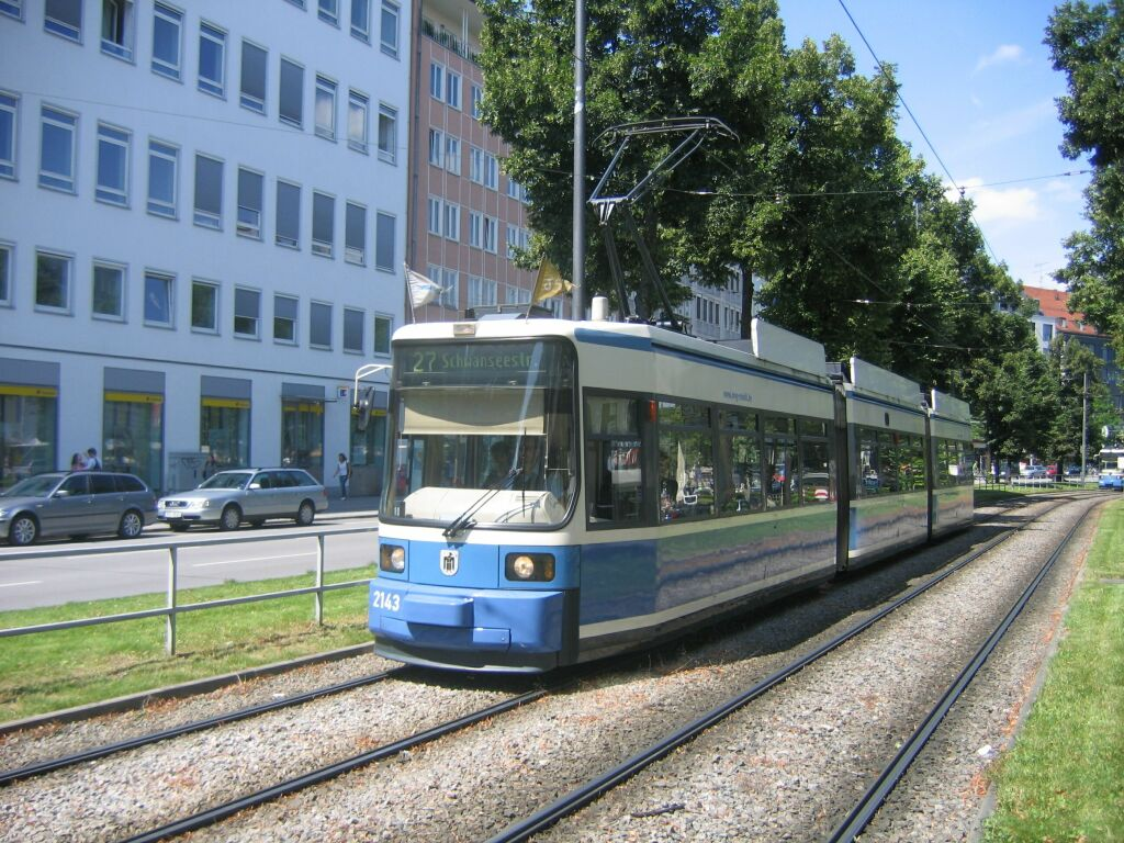 (187k, 1024x768)<br><b>Country:</b> Germany<br><b>City:</b> Munich<br><b>System:</b> MVG (Munchener Verkehrsgesellschaft)<br><b>Location:</b> Sonnenstrasse <br><b>Route:</b> 27<br><b>Car:</b> Siemens GT6N R2.2  2143 <br><b>Photo by:</b> Jos Straathof<br><b>Date:</b> 8/14/2008<br><b>Viewed (this week/total):</b> 0 / 397