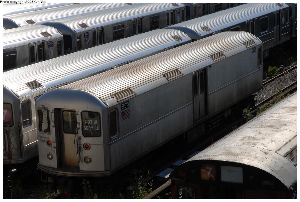 (232k, 1044x705)<br><b>Country:</b> United States<br><b>City:</b> New York<br><b>System:</b> New York City Transit<br><b>Location:</b> Corona Yard<br><b>Car:</b> R-127/R-134 (Kawasaki, 1991-1996) EP013 <br><b>Photo by:</b> Gin Yee<br><b>Date:</b> 9/8/2008<br><b>Viewed (this week/total):</b> 0 / 1663