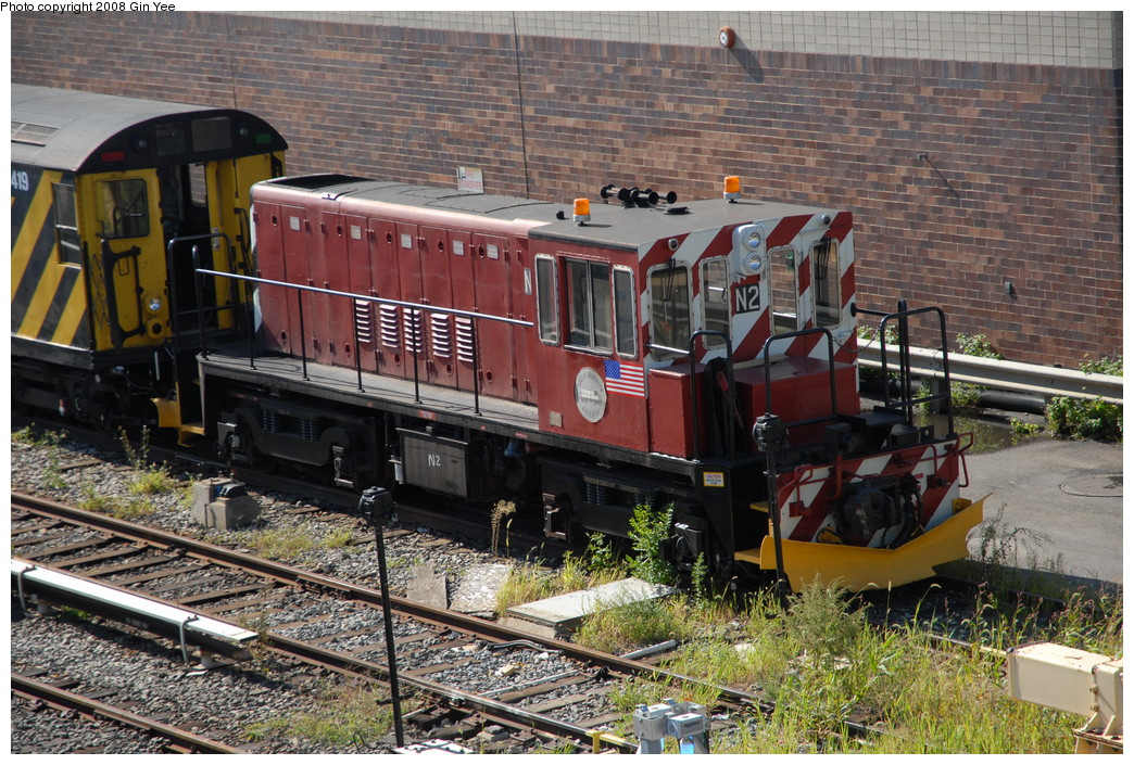(322k, 1044x705)<br><b>Country:</b> United States<br><b>City:</b> New York<br><b>System:</b> New York City Transit<br><b>Location:</b> Corona Yard<br><b>Car:</b> R-47 (SBK) Locomotive  N2 <br><b>Photo by:</b> Gin Yee<br><b>Date:</b> 9/8/2008<br><b>Viewed (this week/total):</b> 2 / 1387