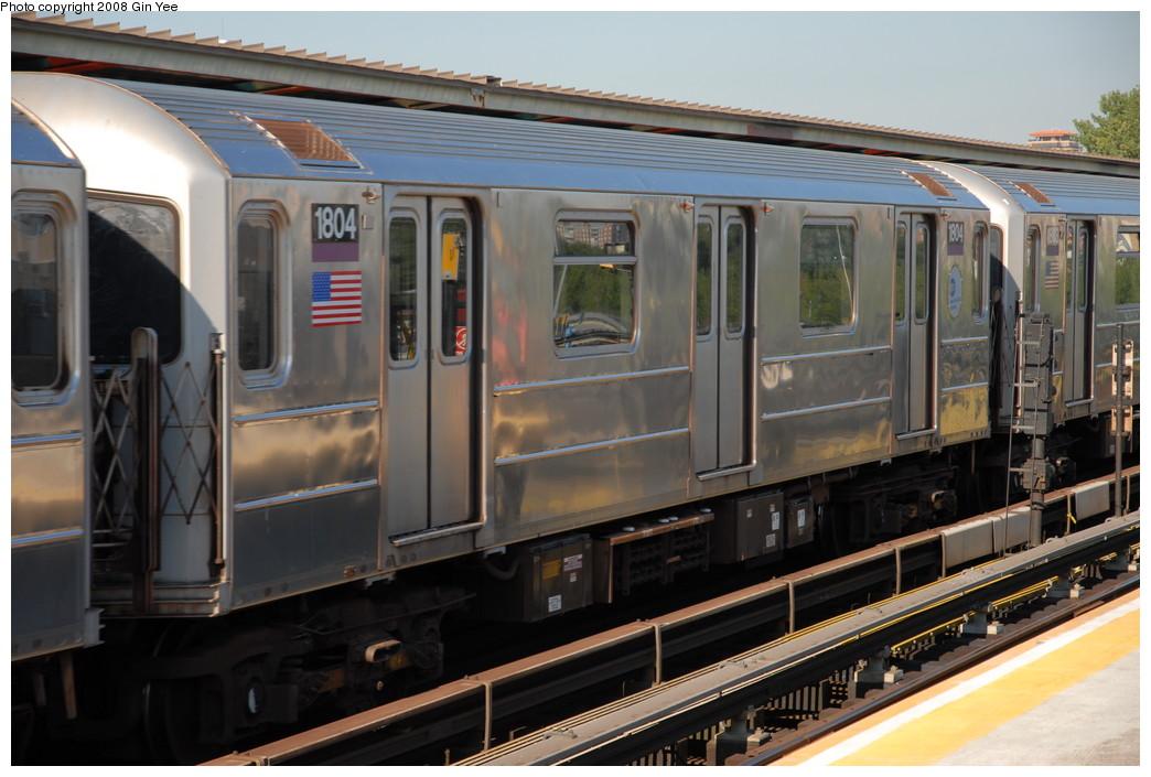 (218k, 1044x705)<br><b>Country:</b> United States<br><b>City:</b> New York<br><b>System:</b> New York City Transit<br><b>Line:</b> IRT Flushing Line<br><b>Location:</b> Willets Point/Mets (fmr. Shea Stadium) <br><b>Route:</b> 7<br><b>Car:</b> R-62A (Bombardier, 1984-1987)  1804 <br><b>Photo by:</b> Gin Yee<br><b>Date:</b> 9/8/2008<br><b>Viewed (this week/total):</b> 5 / 1217