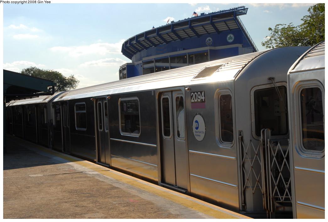 (209k, 1044x705)<br><b>Country:</b> United States<br><b>City:</b> New York<br><b>System:</b> New York City Transit<br><b>Line:</b> IRT Flushing Line<br><b>Location:</b> Willets Point/Mets (fmr. Shea Stadium) <br><b>Route:</b> 7<br><b>Car:</b> R-62A (Bombardier, 1984-1987)  2094 <br><b>Photo by:</b> Gin Yee<br><b>Date:</b> 9/8/2008<br><b>Viewed (this week/total):</b> 1 / 994