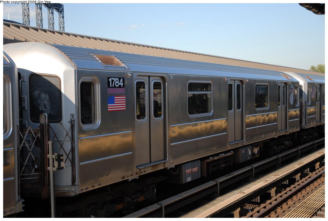 (205k, 1044x705)<br><b>Country:</b> United States<br><b>City:</b> New York<br><b>System:</b> New York City Transit<br><b>Line:</b> IRT Flushing Line<br><b>Location:</b> Willets Point/Mets (fmr. Shea Stadium) <br><b>Route:</b> 7<br><b>Car:</b> R-62A (Bombardier, 1984-1987)  1784 <br><b>Photo by:</b> Gin Yee<br><b>Date:</b> 9/8/2008<br><b>Viewed (this week/total):</b> 1 / 1166
