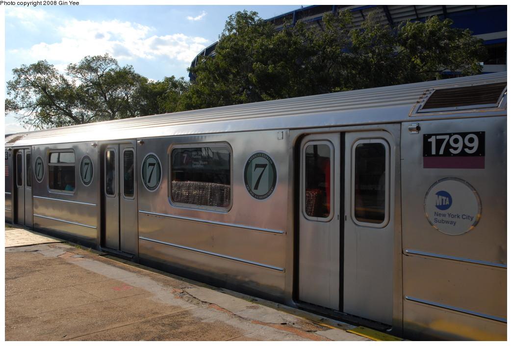 (231k, 1044x705)<br><b>Country:</b> United States<br><b>City:</b> New York<br><b>System:</b> New York City Transit<br><b>Line:</b> IRT Flushing Line<br><b>Location:</b> Willets Point/Mets (fmr. Shea Stadium) <br><b>Route:</b> 7<br><b>Car:</b> R-62A (Bombardier, 1984-1987)  1799 <br><b>Photo by:</b> Gin Yee<br><b>Date:</b> 9/8/2008<br><b>Notes:</b> Note 7-US Open logos on car.<br><b>Viewed (this week/total):</b> 0 / 1727