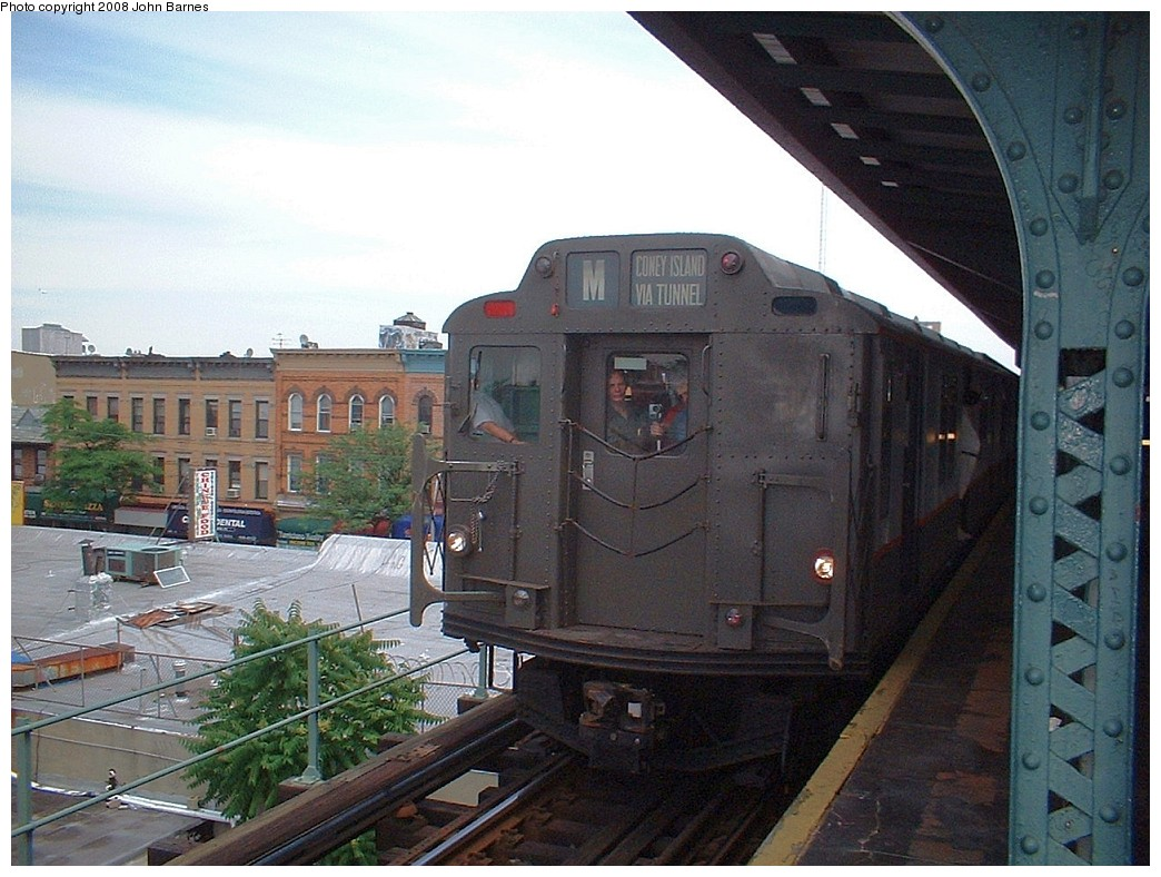 (221k, 1044x788)<br><b>Country:</b> United States<br><b>City:</b> New York<br><b>System:</b> New York City Transit<br><b>Line:</b> BMT Myrtle Avenue Line<br><b>Location:</b> Seneca Avenue <br><b>Route:</b> Fan Trip<br><b>Car:</b> R-7A (Pullman, 1938)  1575 <br><b>Photo by:</b> John Barnes<br><b>Date:</b> 6/28/2003<br><b>Viewed (this week/total):</b> 0 / 1528