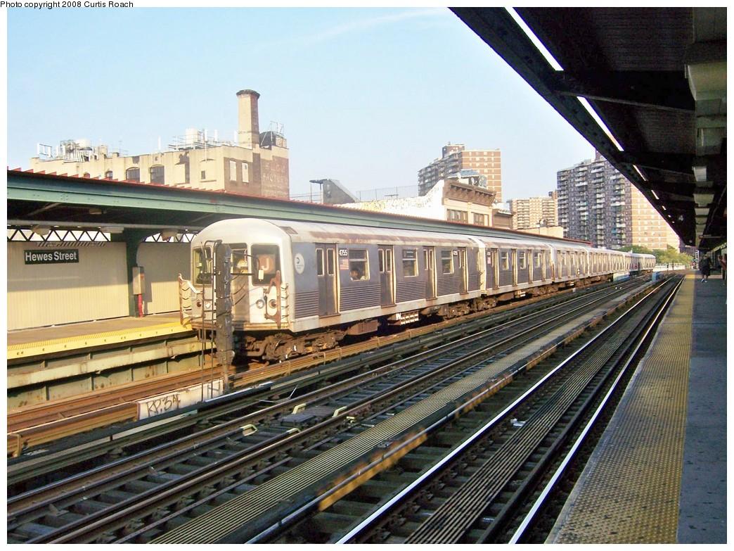 (275k, 1044x783)<br><b>Country:</b> United States<br><b>City:</b> New York<br><b>System:</b> New York City Transit<br><b>Line:</b> BMT Nassau Street/Jamaica Line<br><b>Location:</b> Hewes Street <br><b>Route:</b> J<br><b>Car:</b> R-42 (St. Louis, 1969-1970)  4755 <br><b>Photo by:</b> Curtis Roach<br><b>Date:</b> 9/4/2008<br><b>Viewed (this week/total):</b> 2 / 1340
