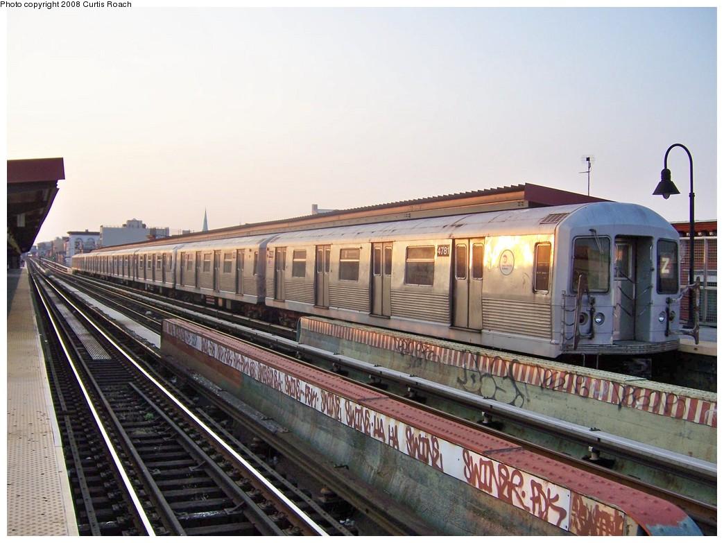 (212k, 1044x783)<br><b>Country:</b> United States<br><b>City:</b> New York<br><b>System:</b> New York City Transit<br><b>Line:</b> BMT Nassau Street/Jamaica Line<br><b>Location:</b> Kosciuszko Street <br><b>Route:</b> Z<br><b>Car:</b> R-42 (St. Louis, 1969-1970)  4781 <br><b>Photo by:</b> Curtis Roach<br><b>Date:</b> 9/4/2008<br><b>Viewed (this week/total):</b> 0 / 1772