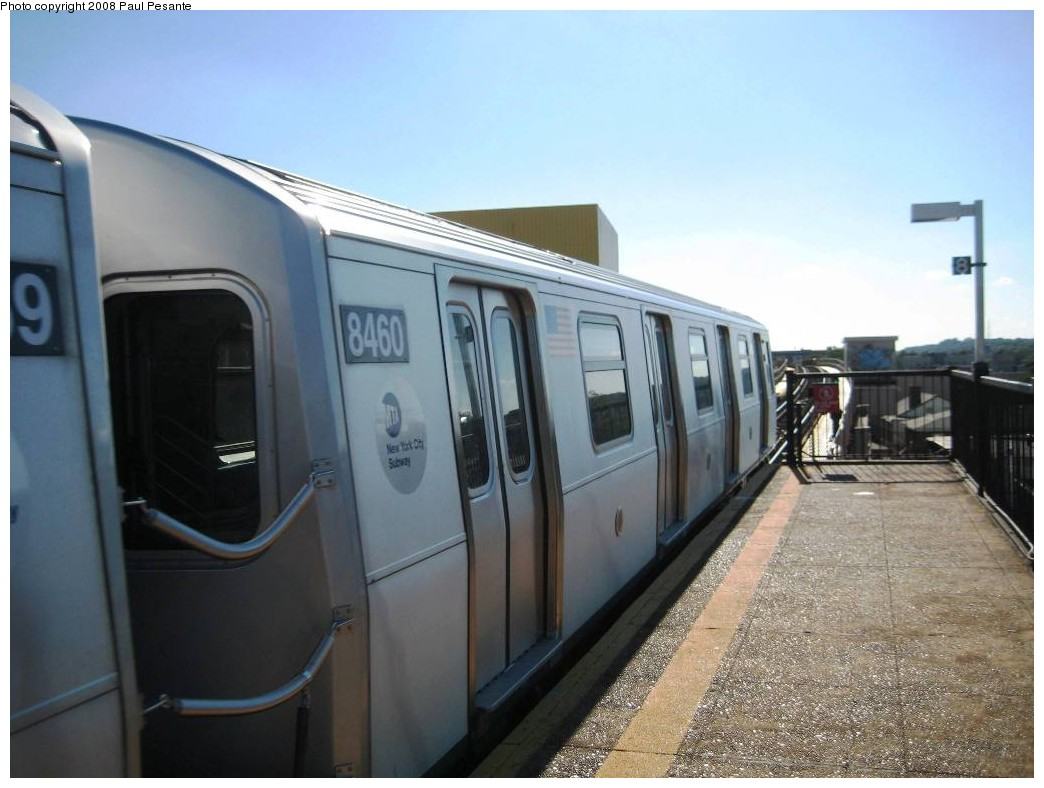 (166k, 1044x788)<br><b>Country:</b> United States<br><b>City:</b> New York<br><b>System:</b> New York City Transit<br><b>Line:</b> BMT Nassau Street/Jamaica Line<br><b>Location:</b> 121st Street <br><b>Route:</b> J<br><b>Car:</b> R-160A-1 (Alstom, 2005-2008, 4 car sets)  8460 <br><b>Photo by:</b> Paul Pesante<br><b>Date:</b> 9/7/2008<br><b>Viewed (this week/total):</b> 0 / 1659