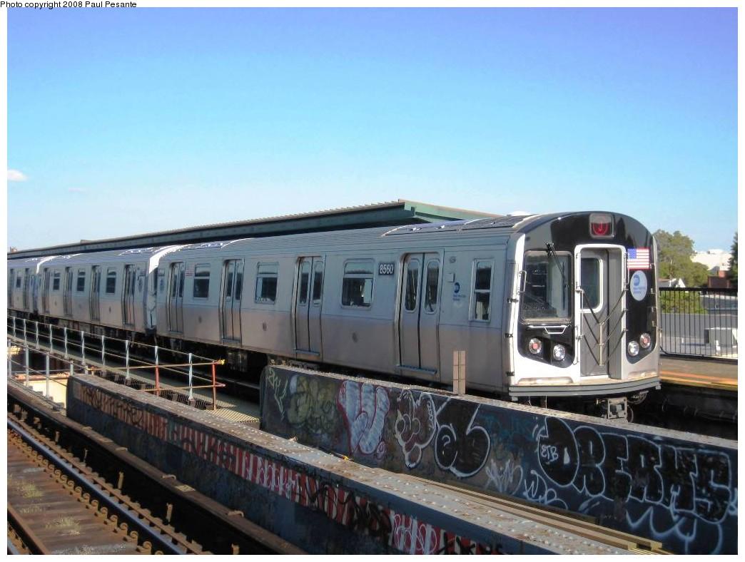 (187k, 1044x788)<br><b>Country:</b> United States<br><b>City:</b> New York<br><b>System:</b> New York City Transit<br><b>Line:</b> BMT Nassau Street/Jamaica Line<br><b>Location:</b> 121st Street <br><b>Route:</b> J<br><b>Car:</b> R-160A-1 (Alstom, 2005-2008, 4 car sets)  8560 <br><b>Photo by:</b> Paul Pesante<br><b>Date:</b> 9/7/2008<br><b>Viewed (this week/total):</b> 3 / 1680