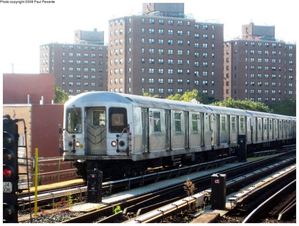 (191k, 1044x788)<br><b>Country:</b> United States<br><b>City:</b> New York<br><b>System:</b> New York City Transit<br><b>Line:</b> BMT Nassau Street/Jamaica Line<br><b>Location:</b> Broadway/East New York (Broadway Junction) <br><b>Route:</b> J<br><b>Car:</b> R-42 (St. Louis, 1969-1970)  4833/32 <br><b>Photo by:</b> Paul Pesante<br><b>Date:</b> 9/7/2008<br><b>Viewed (this week/total):</b> 1 / 1735