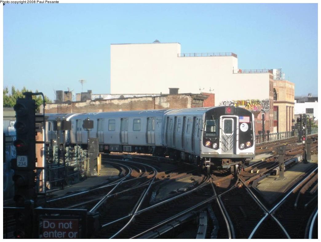(172k, 1044x788)<br><b>Country:</b> United States<br><b>City:</b> New York<br><b>System:</b> New York City Transit<br><b>Line:</b> BMT Nassau Street/Jamaica Line<br><b>Location:</b> Myrtle Avenue <br><b>Route:</b> M<br><b>Car:</b> R-160A-1 (Alstom, 2005-2008, 4 car sets)  8364/63/62/61 <br><b>Photo by:</b> Paul Pesante<br><b>Date:</b> 9/7/2008<br><b>Viewed (this week/total):</b> 0 / 3134