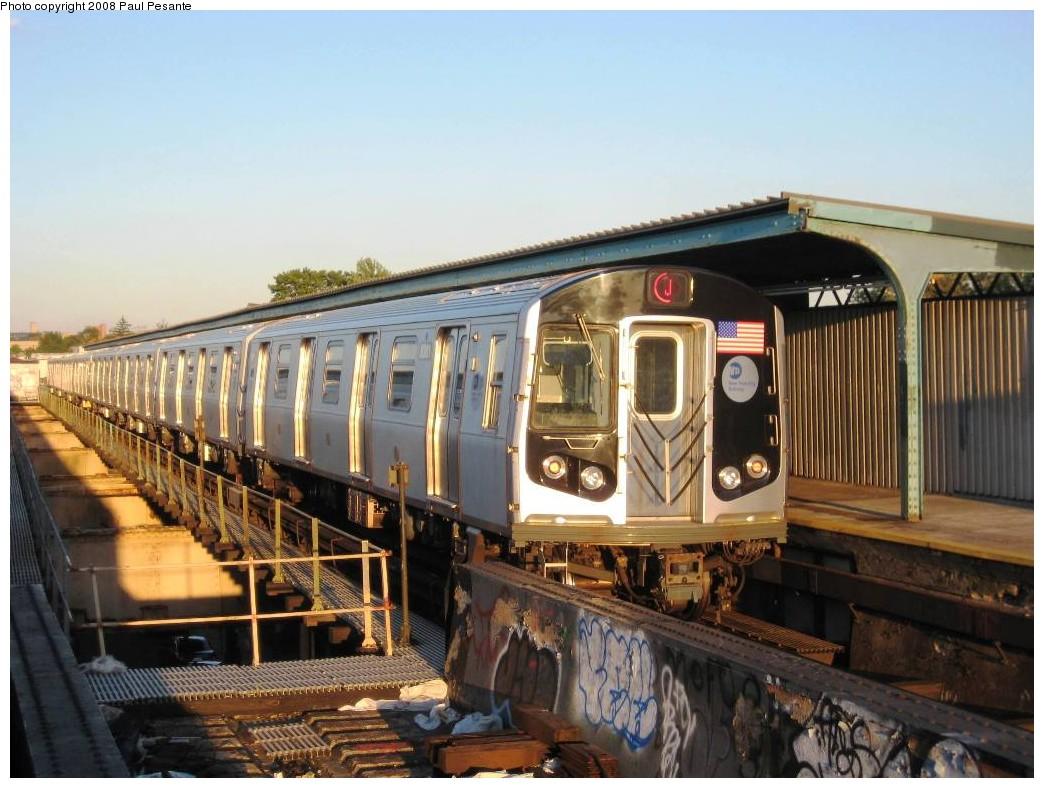 (200k, 1044x788)<br><b>Country:</b> United States<br><b>City:</b> New York<br><b>System:</b> New York City Transit<br><b>Line:</b> BMT Nassau Street/Jamaica Line<br><b>Location:</b> 102nd-104th Streets <br><b>Route:</b> J<br><b>Car:</b> R-160A-1 (Alstom, 2005-2008, 4 car sets)  8381 <br><b>Photo by:</b> Paul Pesante<br><b>Date:</b> 9/7/2008<br><b>Viewed (this week/total):</b> 6 / 2051