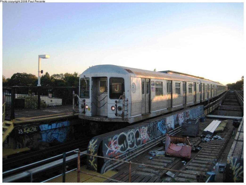 (165k, 1044x788)<br><b>Country:</b> United States<br><b>City:</b> New York<br><b>System:</b> New York City Transit<br><b>Line:</b> BMT Nassau Street/Jamaica Line<br><b>Location:</b> 85th Street/Forest Parkway <br><b>Route:</b> J<br><b>Car:</b> R-42 (St. Louis, 1969-1970)  4833 <br><b>Photo by:</b> Paul Pesante<br><b>Date:</b> 9/7/2008<br><b>Viewed (this week/total):</b> 0 / 2035