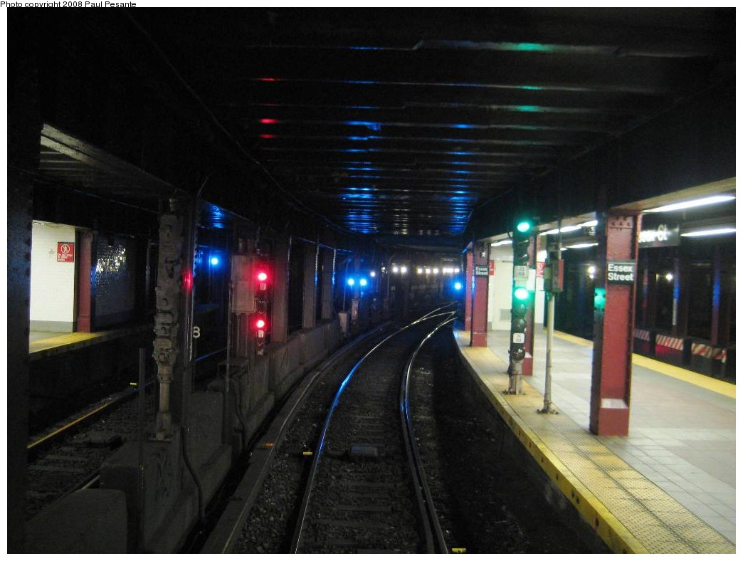 (167k, 1044x788)<br><b>Country:</b> United States<br><b>City:</b> New York<br><b>System:</b> New York City Transit<br><b>Line:</b> BMT Nassau Street/Jamaica Line<br><b>Location:</b> Essex Street <br><b>Photo by:</b> Paul Pesante<br><b>Date:</b> 9/7/2008<br><b>Notes:</b> The photographer is a MTA employee with permission and wants to remind all railfans: do not enter restricted areas!<br><b>Viewed (this week/total):</b> 0 / 3684