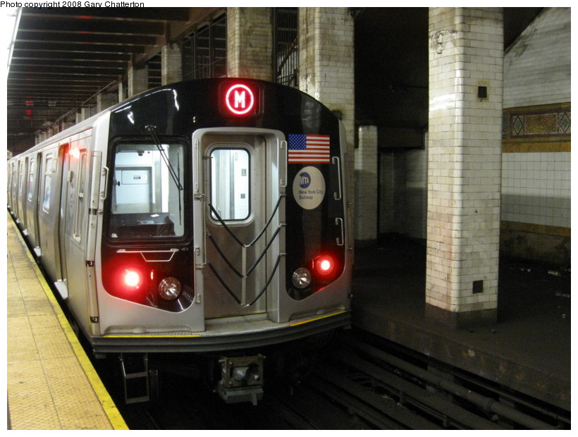 (133k, 820x620)<br><b>Country:</b> United States<br><b>City:</b> New York<br><b>System:</b> New York City Transit<br><b>Line:</b> BMT Nassau Street/Jamaica Line<br><b>Location:</b> Chambers Street <br><b>Route:</b> M<br><b>Car:</b> R-160A-1 (Alstom, 2005-2008, 4 car sets)  8453 <br><b>Photo by:</b> Gary Chatterton<br><b>Date:</b> 9/10/2008<br><b>Viewed (this week/total):</b> 0 / 2644