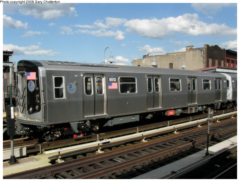 (127k, 820x620)<br><b>Country:</b> United States<br><b>City:</b> New York<br><b>System:</b> New York City Transit<br><b>Line:</b> BMT Nassau Street/Jamaica Line<br><b>Location:</b> Marcy Avenue <br><b>Route:</b> J<br><b>Car:</b> R-160A-1 (Alstom, 2005-2008, 4 car sets)  8513 <br><b>Photo by:</b> Gary Chatterton<br><b>Date:</b> 9/10/2008<br><b>Viewed (this week/total):</b> 0 / 1484
