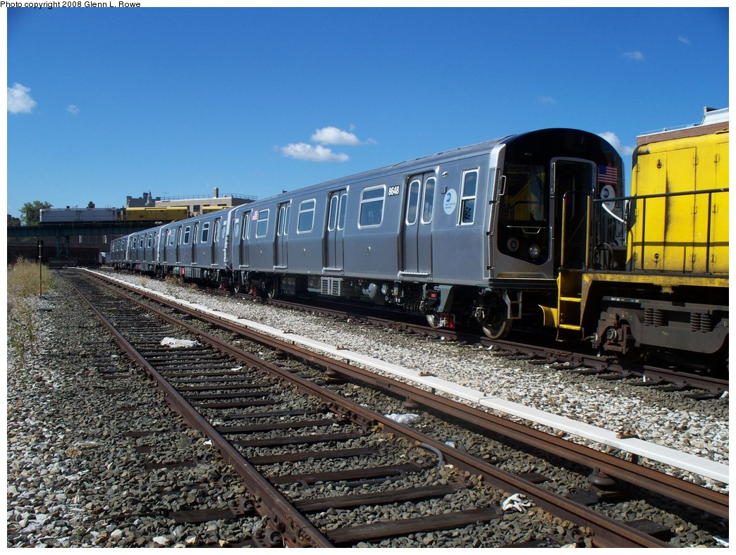 (284k, 1044x788)<br><b>Country:</b> United States<br><b>City:</b> New York<br><b>System:</b> New York City Transit<br><b>Location:</b> 207th Street Yard<br><b>Car:</b> R-160A-1 (Alstom, 2005-2008, 4 car sets)  8648 <br><b>Photo by:</b> Glenn L. Rowe<br><b>Date:</b> 9/10/2008<br><b>Viewed (this week/total):</b> 0 / 2260