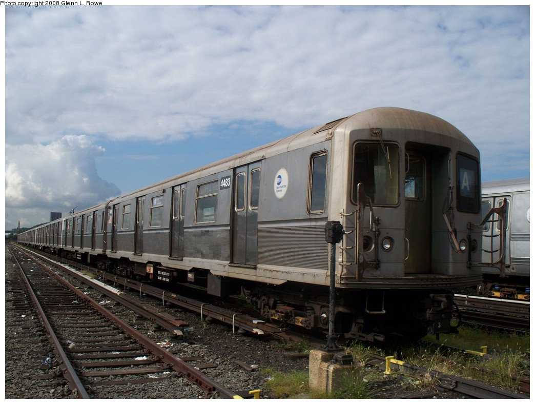 (202k, 1044x788)<br><b>Country:</b> United States<br><b>City:</b> New York<br><b>System:</b> New York City Transit<br><b>Location:</b> 207th Street Yard<br><b>Car:</b> R-40M (St. Louis, 1969)  4483 <br><b>Photo by:</b> Glenn L. Rowe<br><b>Date:</b> 9/11/2008<br><b>Viewed (this week/total):</b> 0 / 1366