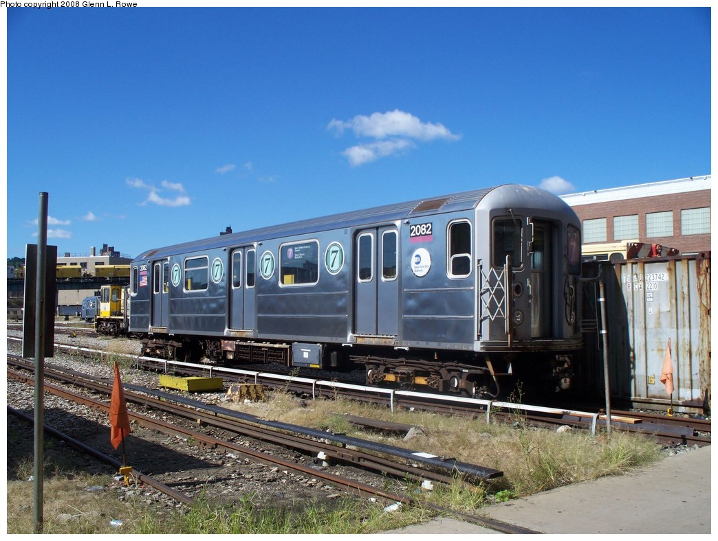 (239k, 1044x788)<br><b>Country:</b> United States<br><b>City:</b> New York<br><b>System:</b> New York City Transit<br><b>Location:</b> 207th Street Yard<br><b>Car:</b> R-62A (Bombardier, 1984-1987)  2082 <br><b>Photo by:</b> Glenn L. Rowe<br><b>Date:</b> 9/10/2008<br><b>Viewed (this week/total):</b> 2 / 1766