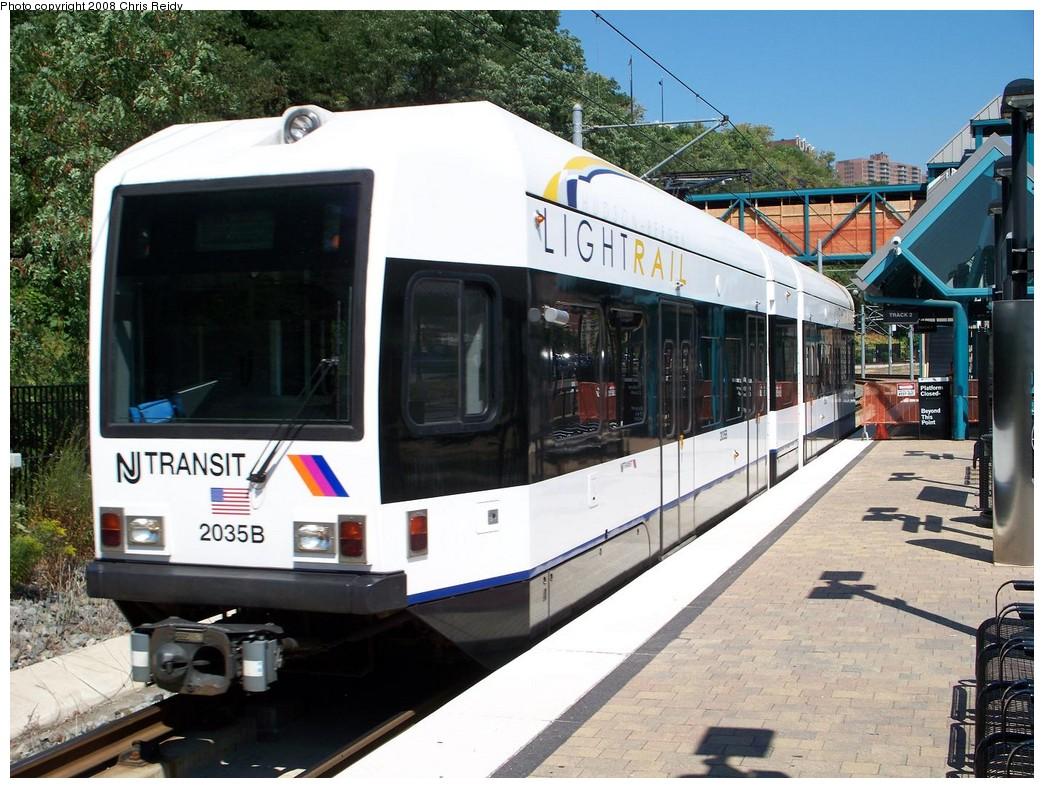(251k, 1044x788)<br><b>Country:</b> United States<br><b>City:</b> Weehawken, NJ<br><b>System:</b> Hudson Bergen Light Rail<br><b>Location:</b> Port Imperial <br><b>Car:</b> NJT-HBLR LRV (Kinki-Sharyo, 1998-99)  2035 <br><b>Photo by:</b> Chris Reidy<br><b>Date:</b> 9/5/2008<br><b>Viewed (this week/total):</b> 1 / 762