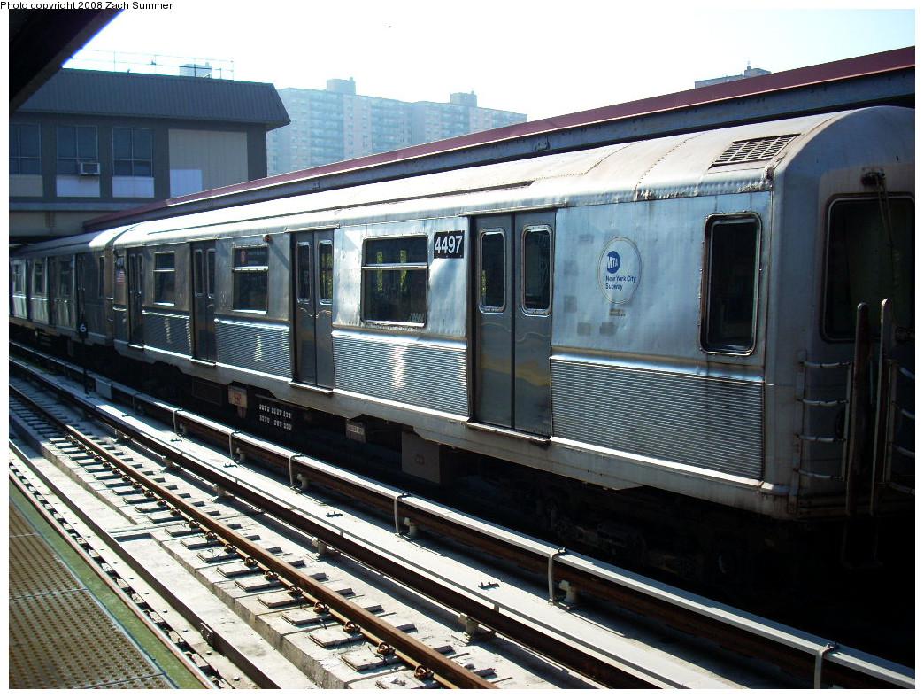 (323k, 1044x788)<br><b>Country:</b> United States<br><b>City:</b> New York<br><b>System:</b> New York City Transit<br><b>Line:</b> BMT Brighton Line<br><b>Location:</b> Ocean Parkway <br><b>Route:</b> B yard move<br><b>Car:</b> R-40M (St. Louis, 1969)  4497 <br><b>Photo by:</b> Zach Summer<br><b>Date:</b> 7/21/2008<br><b>Viewed (this week/total):</b> 1 / 1106