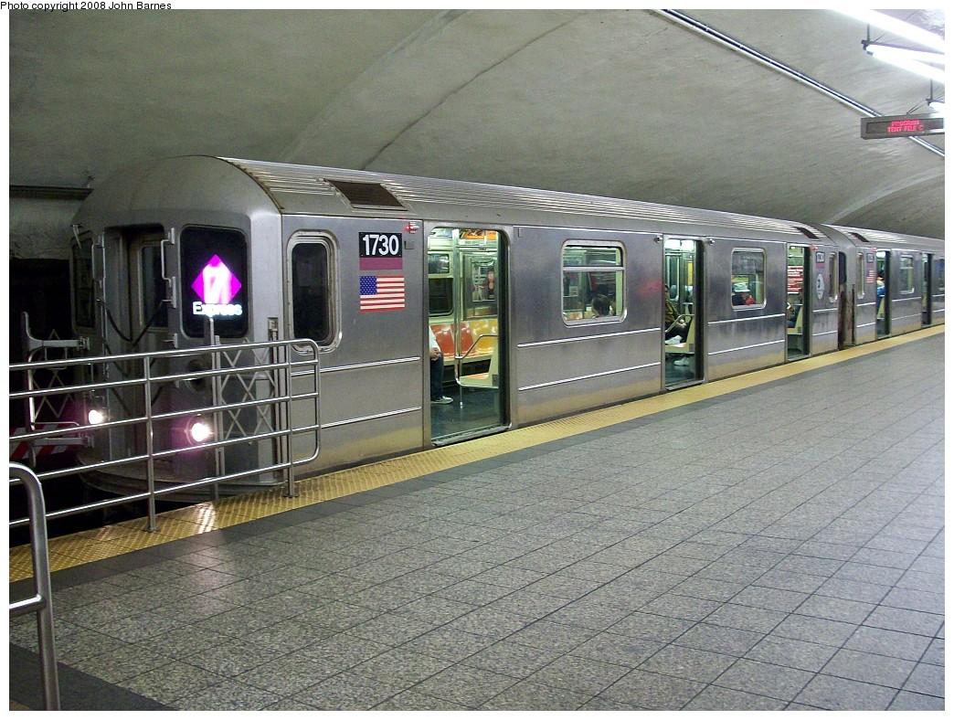 (275k, 1044x788)<br><b>Country:</b> United States<br><b>City:</b> New York<br><b>System:</b> New York City Transit<br><b>Line:</b> IRT Flushing Line<br><b>Location:</b> Grand Central <br><b>Route:</b> 7<br><b>Car:</b> R-62A (Bombardier, 1984-1987)  1730 <br><b>Photo by:</b> John Barnes<br><b>Date:</b> 4/18/2008<br><b>Viewed (this week/total):</b> 2 / 2066