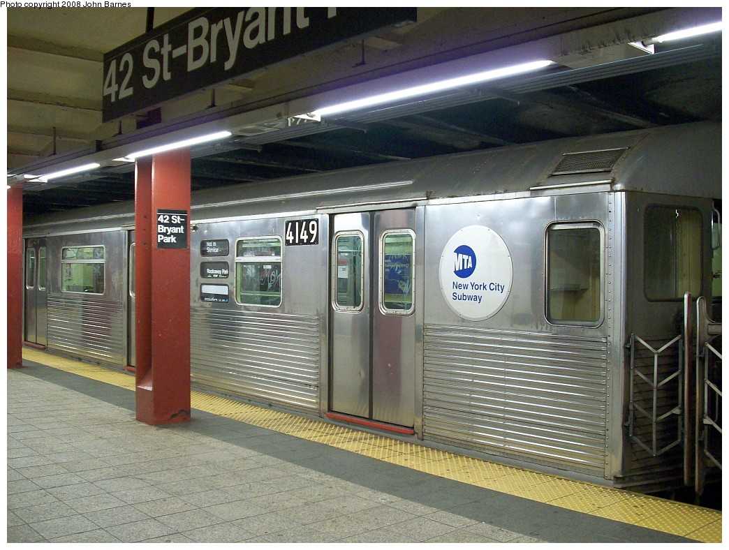 (256k, 1044x788)<br><b>Country:</b> United States<br><b>City:</b> New York<br><b>System:</b> New York City Transit<br><b>Line:</b> IND 6th Avenue Line<br><b>Location:</b> 42nd Street/Bryant Park <br><b>Route:</b> Work Service<br><b>Car:</b> R-38 (St. Louis, 1966-1967)  4149 <br><b>Photo by:</b> John Barnes<br><b>Date:</b> 7/4/2008<br><b>Viewed (this week/total):</b> 0 / 2589