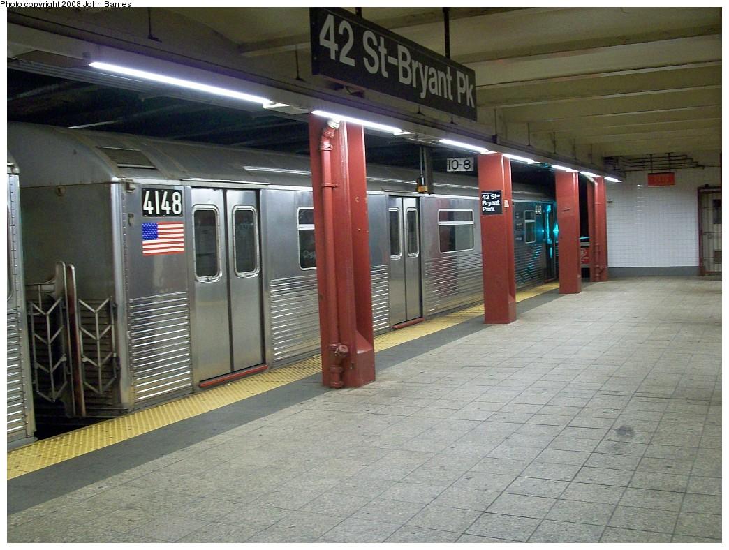 (245k, 1044x788)<br><b>Country:</b> United States<br><b>City:</b> New York<br><b>System:</b> New York City Transit<br><b>Line:</b> IND 6th Avenue Line<br><b>Location:</b> 42nd Street/Bryant Park <br><b>Route:</b> Work Service<br><b>Car:</b> R-38 (St. Louis, 1966-1967)  4148 <br><b>Photo by:</b> John Barnes<br><b>Date:</b> 7/4/2008<br><b>Viewed (this week/total):</b> 2 / 1821