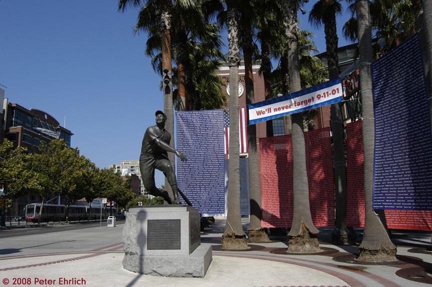 (214k, 864x574)<br><b>Country:</b> United States<br><b>City:</b> San Francisco/Bay Area, CA<br><b>System:</b> SF MUNI<br><b>Line:</b> MUNI Metro (Embarcadero)<br><b>Location:</b> 3rd/King <br><b>Car:</b> SF MUNI Breda LRV 1409 <br><b>Photo by:</b> Peter Ehrlich<br><b>Date:</b> 9/11/2008<br><b>Notes:</b> King/3rd Street, inbound. With 9/11 memorial display at AT&T Park plaza.<br><b>Viewed (this week/total):</b> 0 / 513