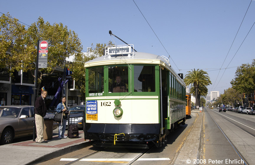 (190k, 864x558)<br><b>Country:</b> United States<br><b>City:</b> San Francisco/Bay Area, CA<br><b>System:</b> SF MUNI<br><b>Location:</b> Market/16th/Noe <br><b>Route:</b> F-Market<br><b>Car:</b> SF MUNI B-Type (Jewett Car Co, 1914)  162 <br><b>Photo by:</b> Peter Ehrlich<br><b>Date:</b> 9/14/2008<br><b>Notes:</b> Market/Noe/16th Street, outbound.<br><b>Viewed (this week/total):</b> 0 / 386
