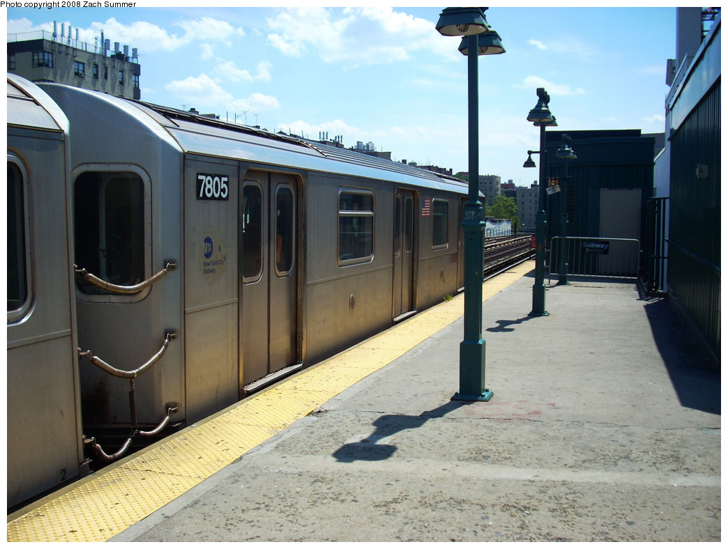 (265k, 1044x788)<br><b>Country:</b> United States<br><b>City:</b> New York<br><b>System:</b> New York City Transit<br><b>Line:</b> IRT Woodlawn Line<br><b>Location:</b> 161st Street/River Avenue (Yankee Stadium) <br><b>Route:</b> 4<br><b>Car:</b> R-142A (Supplemental Order, Kawasaki, 2003-2004)  7805 <br><b>Photo by:</b> Zach Summer<br><b>Date:</b> 7/25/2008<br><b>Viewed (this week/total):</b> 0 / 2327