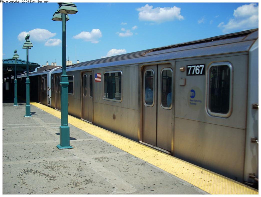 (236k, 1044x788)<br><b>Country:</b> United States<br><b>City:</b> New York<br><b>System:</b> New York City Transit<br><b>Line:</b> IRT Woodlawn Line<br><b>Location:</b> 161st Street/River Avenue (Yankee Stadium) <br><b>Route:</b> 4<br><b>Car:</b> R-142A (Supplemental Order, Kawasaki, 2003-2004)  7767 <br><b>Photo by:</b> Zach Summer<br><b>Date:</b> 7/25/2008<br><b>Viewed (this week/total):</b> 1 / 1613
