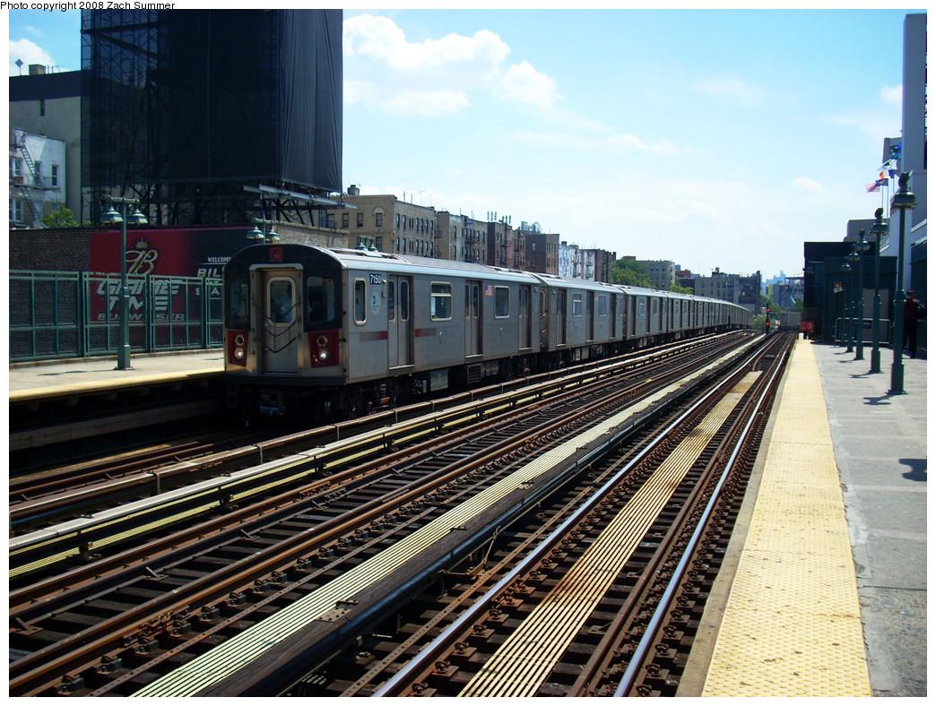(344k, 1044x788)<br><b>Country:</b> United States<br><b>City:</b> New York<br><b>System:</b> New York City Transit<br><b>Line:</b> IRT Woodlawn Line<br><b>Location:</b> 161st Street/River Avenue (Yankee Stadium) <br><b>Route:</b> 4<br><b>Car:</b> R-142 (Option Order, Bombardier, 2002-2003)  7150 <br><b>Photo by:</b> Zach Summer<br><b>Date:</b> 7/25/2008<br><b>Viewed (this week/total):</b> 0 / 1459