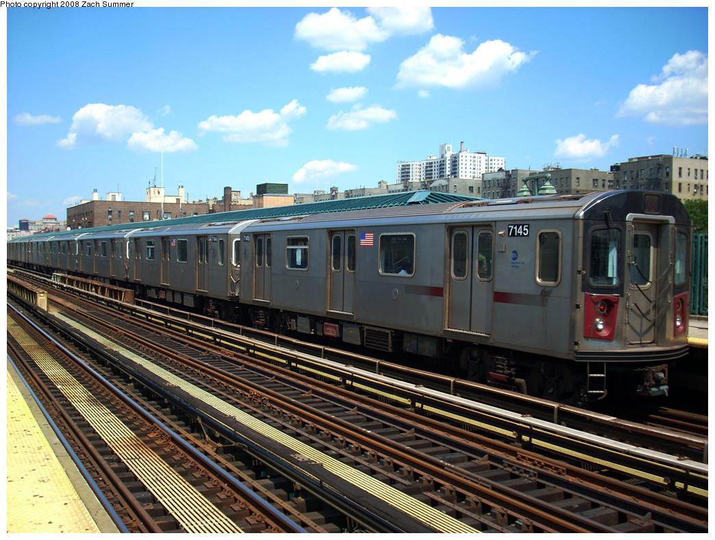 (323k, 1044x788)<br><b>Country:</b> United States<br><b>City:</b> New York<br><b>System:</b> New York City Transit<br><b>Line:</b> IRT Woodlawn Line<br><b>Location:</b> 161st Street/River Avenue (Yankee Stadium) <br><b>Route:</b> 4<br><b>Car:</b> R-142 (Option Order, Bombardier, 2002-2003)  7145 <br><b>Photo by:</b> Zach Summer<br><b>Date:</b> 7/25/2008<br><b>Viewed (this week/total):</b> 0 / 1489