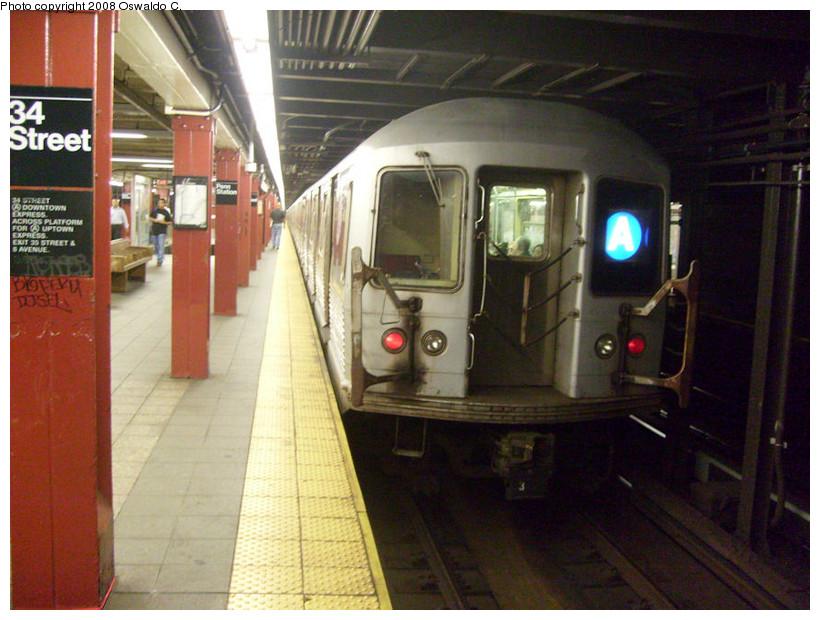 (184k, 820x620)<br><b>Country:</b> United States<br><b>City:</b> New York<br><b>System:</b> New York City Transit<br><b>Line:</b> IND 8th Avenue Line<br><b>Location:</b> 34th Street/Penn Station <br><b>Route:</b> A<br><b>Car:</b> R-42 (St. Louis, 1969-1970)  4608 <br><b>Photo by:</b> Oswaldo C.<br><b>Date:</b> 9/10/2008<br><b>Viewed (this week/total):</b> 0 / 1999