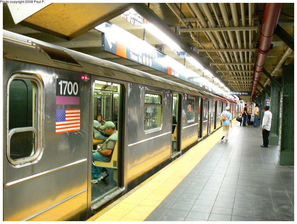 (269k, 1044x788)<br><b>Country:</b> United States<br><b>City:</b> New York<br><b>System:</b> New York City Transit<br><b>Line:</b> IRT Flushing Line<br><b>Location:</b> Times Square <br><b>Route:</b> 7<br><b>Car:</b> R-62A (Bombardier, 1984-1987)  1700 <br><b>Photo by:</b> Paul P.<br><b>Date:</b> 8/26/2008<br><b>Viewed (this week/total):</b> 3 / 1897