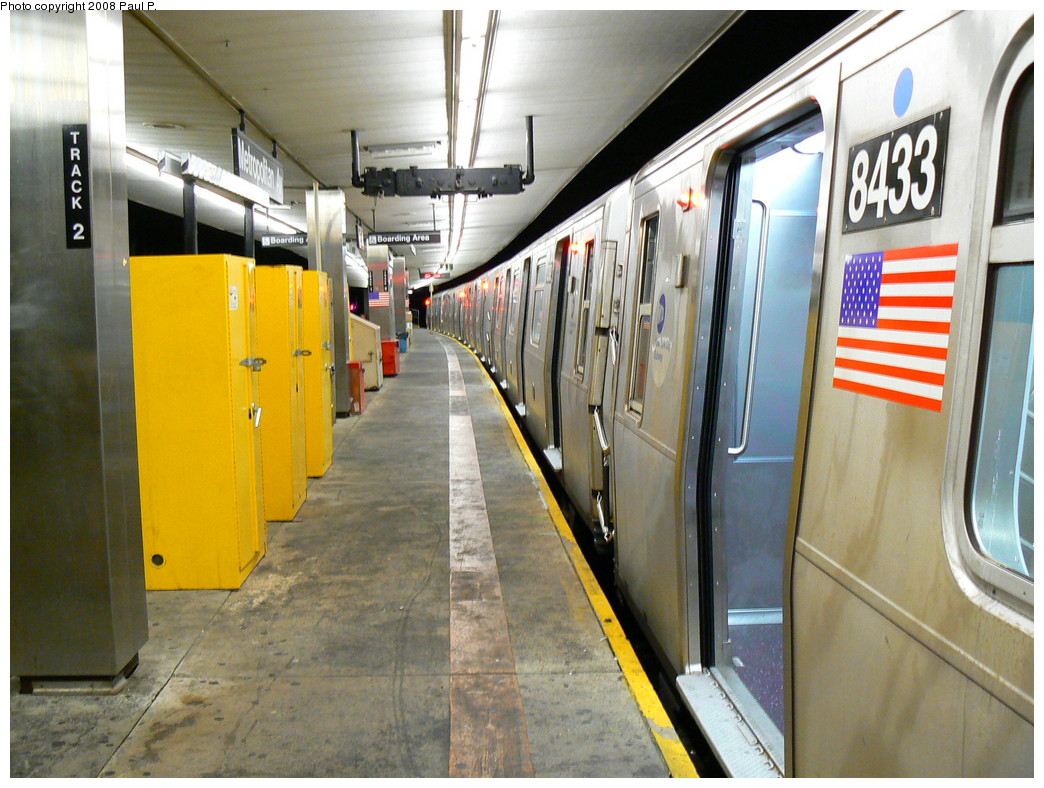 (261k, 1044x788)<br><b>Country:</b> United States<br><b>City:</b> New York<br><b>System:</b> New York City Transit<br><b>Line:</b> BMT Myrtle Avenue Line<br><b>Location:</b> Metropolitan Avenue <br><b>Route:</b> M<br><b>Car:</b> R-160A-1 (Alstom, 2005-2008, 4 car sets)  8433 <br><b>Photo by:</b> Paul P.<br><b>Date:</b> 8/27/2008<br><b>Viewed (this week/total):</b> 2 / 2405