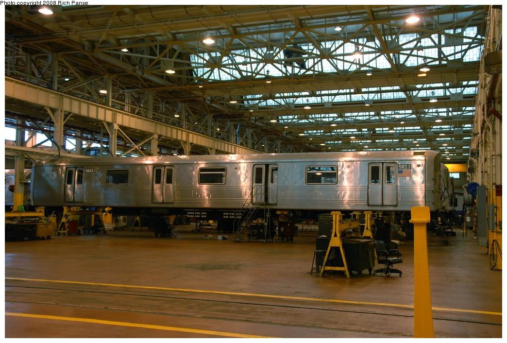 (216k, 1044x706)<br><b>Country:</b> United States<br><b>City:</b> New York<br><b>System:</b> New York City Transit<br><b>Location:</b> Coney Island Shop/Overhaul & Repair Shop<br><b>Car:</b> R-46 (Pullman-Standard, 1974-75) 5623 <br><b>Photo by:</b> Richard Panse<br><b>Date:</b> 9/13/2008<br><b>Viewed (this week/total):</b> 0 / 1436