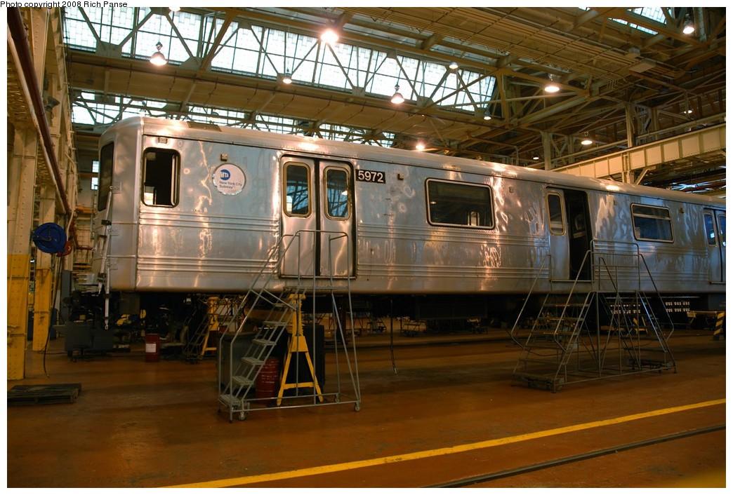 (214k, 1044x706)<br><b>Country:</b> United States<br><b>City:</b> New York<br><b>System:</b> New York City Transit<br><b>Location:</b> Coney Island Shop/Overhaul & Repair Shop<br><b>Car:</b> R-46 (Pullman-Standard, 1974-75) 5972 <br><b>Photo by:</b> Richard Panse<br><b>Date:</b> 9/13/2008<br><b>Viewed (this week/total):</b> 0 / 1242