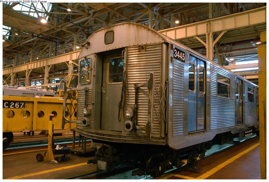 (224k, 1044x706)<br><b>Country:</b> United States<br><b>City:</b> New York<br><b>System:</b> New York City Transit<br><b>Location:</b> Coney Island Shop/Overhaul & Repair Shop<br><b>Car:</b> R-32 (Budd, 1964)  3445 <br><b>Photo by:</b> Richard Panse<br><b>Date:</b> 9/13/2008<br><b>Viewed (this week/total):</b> 0 / 1229