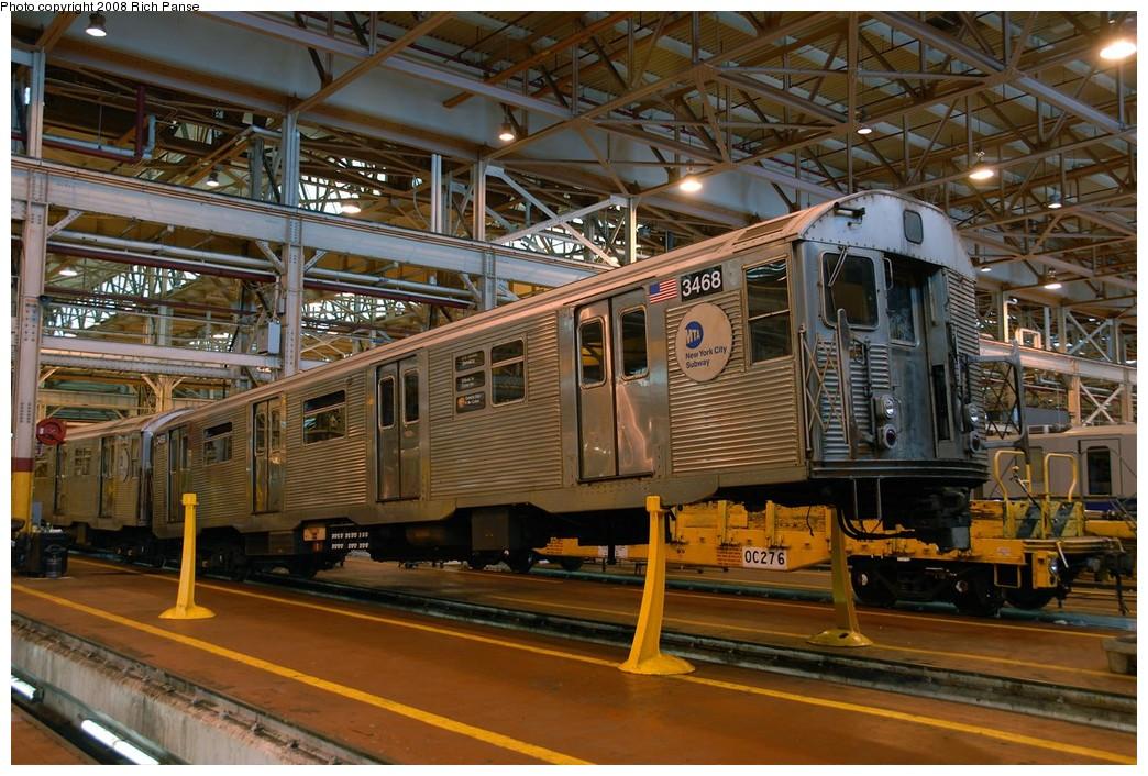 (237k, 1044x706)<br><b>Country:</b> United States<br><b>City:</b> New York<br><b>System:</b> New York City Transit<br><b>Location:</b> Coney Island Shop/Overhaul & Repair Shop<br><b>Car:</b> R-32 (Budd, 1964)  3468 <br><b>Photo by:</b> Richard Panse<br><b>Date:</b> 9/13/2008<br><b>Viewed (this week/total):</b> 1 / 1711