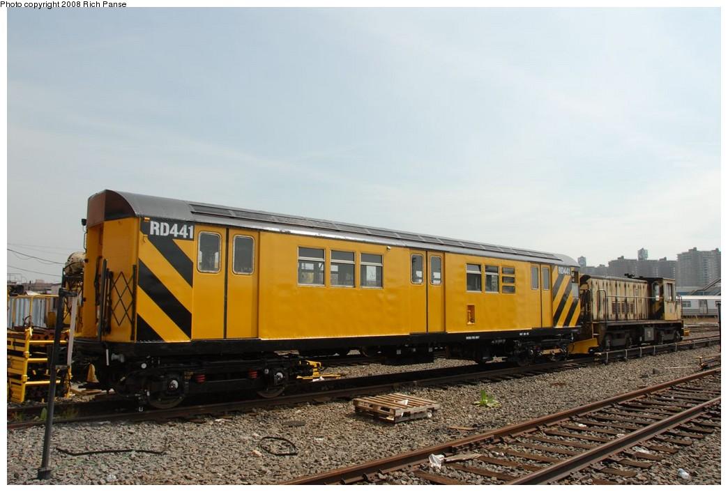 (194k, 1044x706)<br><b>Country:</b> United States<br><b>City:</b> New York<br><b>System:</b> New York City Transit<br><b>Location:</b> Coney Island Yard<br><b>Car:</b> R-161 Rider Car (ex-R-33)  RD441 (ex-8951)<br><b>Photo by:</b> Richard Panse<br><b>Date:</b> 9/13/2008<br><b>Viewed (this week/total):</b> 1 / 1304