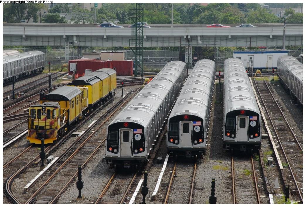 (264k, 1044x706)<br><b>Country:</b> United States<br><b>City:</b> New York<br><b>System:</b> New York City Transit<br><b>Location:</b> Coney Island Yard<br><b>Car:</b> R-160A/R-160B Series (Number Unknown)  <br><b>Photo by:</b> Richard Panse<br><b>Date:</b> 9/13/2008<br><b>Notes:</b> Note R12/R14 still on property.<br><b>Viewed (this week/total):</b> 0 / 2941