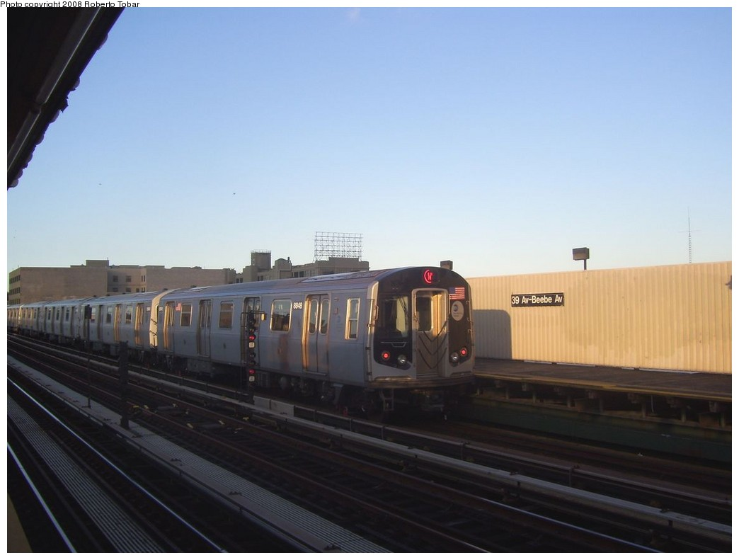 (136k, 1044x791)<br><b>Country:</b> United States<br><b>City:</b> New York<br><b>System:</b> New York City Transit<br><b>Line:</b> BMT Astoria Line<br><b>Location:</b> 39th/Beebe Aves. <br><b>Route:</b> W<br><b>Car:</b> R-160B (Kawasaki, 2005-2008)  8848 <br><b>Photo by:</b> Roberto C. Tobar<br><b>Date:</b> 9/19/2008<br><b>Viewed (this week/total):</b> 6 / 1689