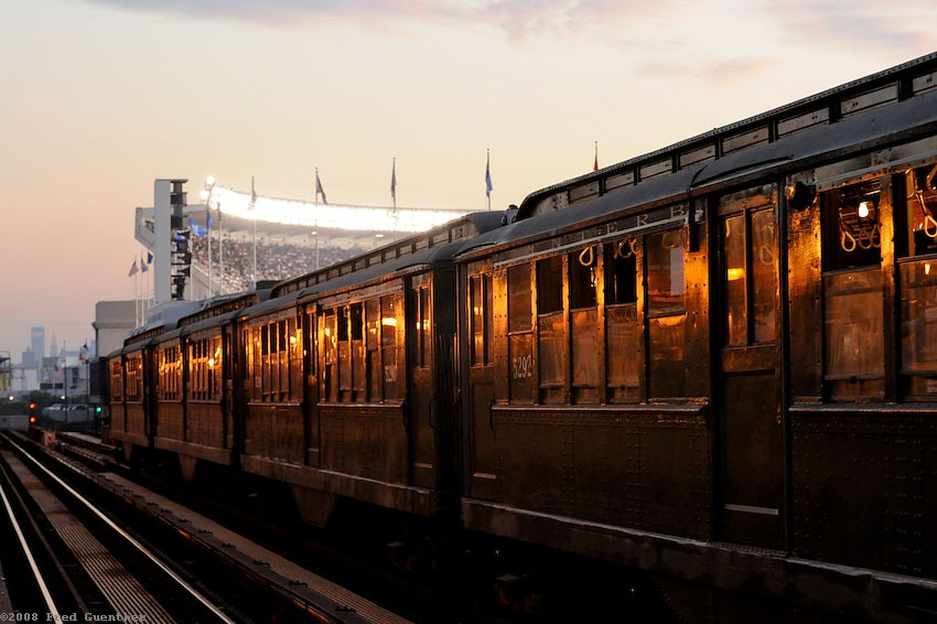 (115k, 850x566)<br><b>Country:</b> United States<br><b>City:</b> New York<br><b>System:</b> New York City Transit<br><b>Line:</b> IRT Woodlawn Line<br><b>Location:</b> 161st Street/River Avenue (Yankee Stadium) <br><b>Route:</b> Museum Train Service<br><b>Car:</b> Low-V (Museum Train) 5292 <br><b>Photo by:</b> Fred Guenther<br><b>Date:</b> 9/21/2008<br><b>Notes:</b> Yankee Stadium closing day special<br><b>Viewed (this week/total):</b> 1 / 2181