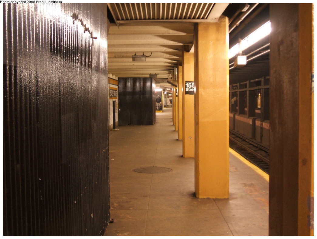 (211k, 1044x788)<br><b>Country:</b> United States<br><b>City:</b> New York<br><b>System:</b> New York City Transit<br><b>Line:</b> IND Concourse Line<br><b>Location:</b> 155th Street/8th Avenue <br><b>Photo by:</b> Frank LeViness<br><b>Date:</b> 9/19/2008<br><b>Notes:</b> View of platform with closed staircases<br><b>Viewed (this week/total):</b> 1 / 1839