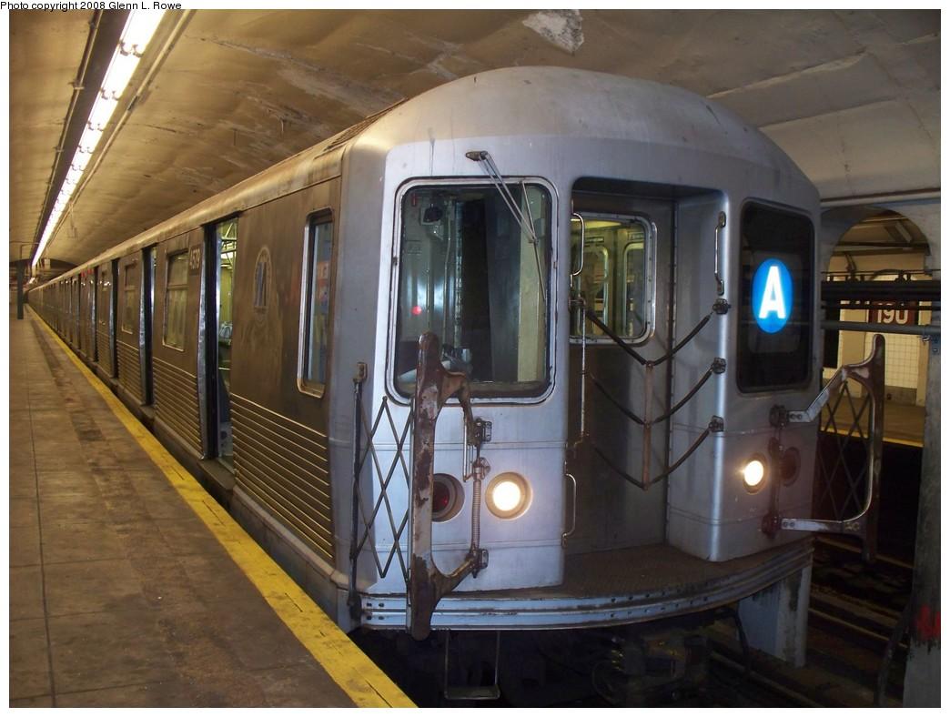 (204k, 1044x788)<br><b>Country:</b> United States<br><b>City:</b> New York<br><b>System:</b> New York City Transit<br><b>Line:</b> IND 8th Avenue Line<br><b>Location:</b> 190th Street/Overlook Terrace <br><b>Route:</b> A<br><b>Car:</b> R-42 (St. Louis, 1969-1970)  4579 <br><b>Photo by:</b> Glenn L. Rowe<br><b>Date:</b> 9/30/2008<br><b>Viewed (this week/total):</b> 1 / 1542