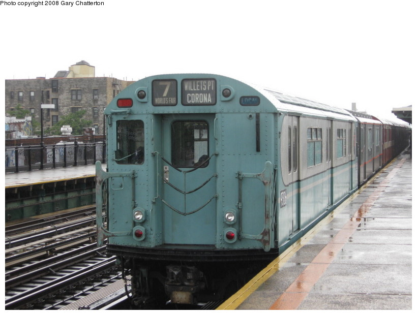(117k, 820x620)<br><b>Country:</b> United States<br><b>City:</b> New York<br><b>System:</b> New York City Transit<br><b>Line:</b> IRT Flushing Line<br><b>Location:</b> 82nd Street/Jackson Heights <br><b>Route:</b> Museum Train Service (7)<br><b>Car:</b> R-33 World's Fair (St. Louis, 1963-64) 9306 <br><b>Photo by:</b> Gary Chatterton<br><b>Date:</b> 9/28/2008<br><b>Notes:</b> Shea Stadium closing day special<br><b>Viewed (this week/total):</b> 0 / 1411