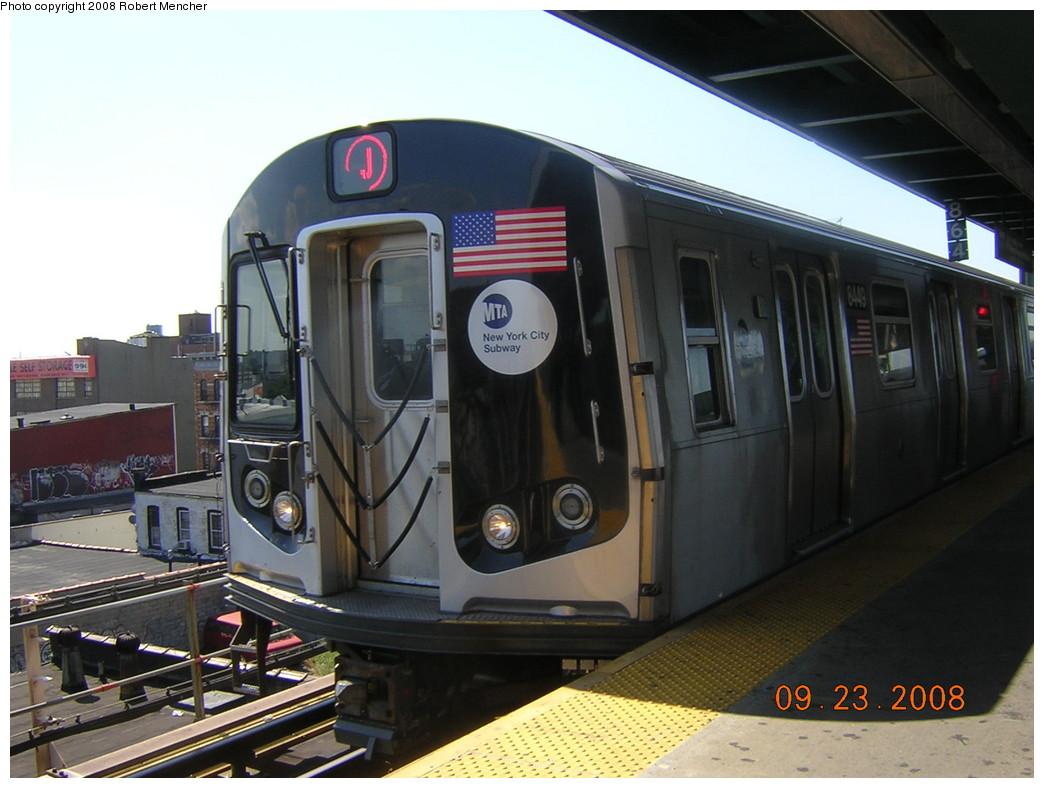 (221k, 1044x788)<br><b>Country:</b> United States<br><b>City:</b> New York<br><b>System:</b> New York City Transit<br><b>Line:</b> BMT Nassau Street/Jamaica Line<br><b>Location:</b> Alabama Avenue <br><b>Route:</b> J<br><b>Car:</b> R-160A-1 (Alstom, 2005-2008, 4 car sets)  8449 <br><b>Photo by:</b> Robert Mencher<br><b>Date:</b> 9/23/2008<br><b>Viewed (this week/total):</b> 0 / 1753